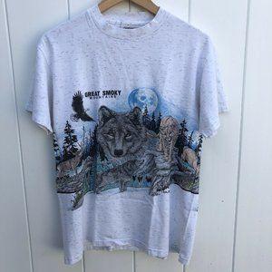 Vtg Oneita Great Smoky Mountains T-Shirt Wolf 90s